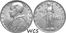Vatican City 10 Lire 1952/XIV KM#52.1 XF-