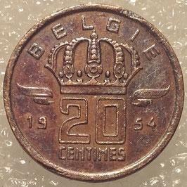 Belgium 20 Centimes 1954/1960 BELGiE KM#147.1