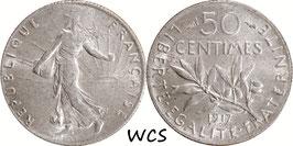 France 50 Centimes 1917 KM#854 XF