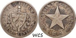 Cuba 20 Centavos 1915 KM#13.2 VF-