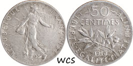 France 50 Centimes 1918 KM#854 VF