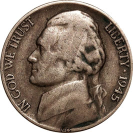 USA Jefferson War Nickel (5 Cents) 1945 P KM#192a VF-