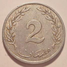 Tunisia 2 Millimes 1960 KM#281