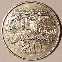 Zimbabwe 20 Cents 1980-1997 KM#4