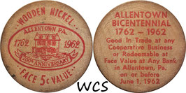 USA 5 Cents (Wooden Nickel)  1962 red - Allentown, PA Bicentennial