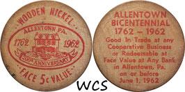 USA 5 Cents (Wooden Nickel)  1962 red - Allentown, PA Bicentennial