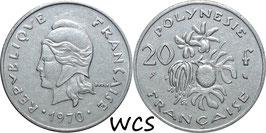 French Polynesia 20 Francs 1970 KM#6 VF