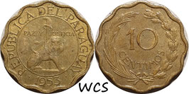 Paraguay 10 Centimos 1953 KM#25 VF