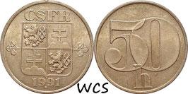 Czechoslovakia 50 Haleru 1991-1992 KM#144