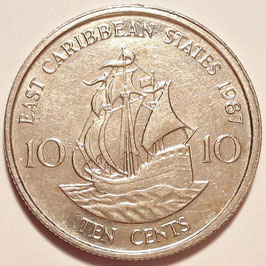 East Caribbean States 10 Cents 1981-2000 KM#13
