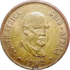 South Africa 2 Cents 1982 KM#110 VF - End of Balthazar Johannes Vorster's Presidency
