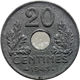 France 20 Centimes 1941-1943 KM#900.1 (thick flan 3,5 g)