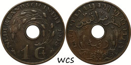 Netherlands East Indies 1 Cent 1938 KM#317 VF