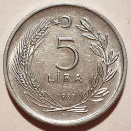 Turkey 5 Lira 1981 KM#944 XF-