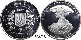 Ukraine 2Hryvni1997 KM# 41 Prooflike - Solomiya Krushelnytska - 1872-1952