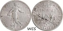 France 50 Centimes 1917 KM#854 VF (1)