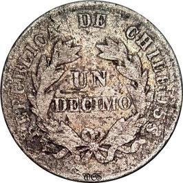 Chile 1 Decimo 1881 KM#136.3 VG