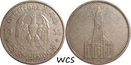 Germany - Third Reich 5 Reichsmark 1935 A KM#83 VF- - 1st Anniversary of Nazi Rule - Potsdam Garrison Church (1)