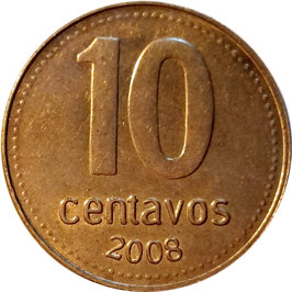 Argentina 10 Centavos 2006-2011 KM#107a