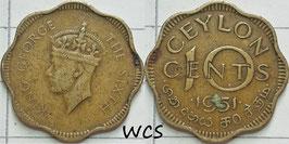 Ceylon 10 Cents 1951 KM#121 F