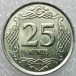 Turkey 25 Kurus 2009-2016 KM#1242