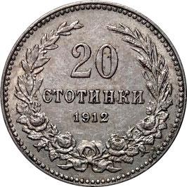 Bulgaria 20 Stotinki 1906-1913 KM#26