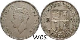 Mauritius 1 Rupee 1950 KM#29.1 VF (2)
