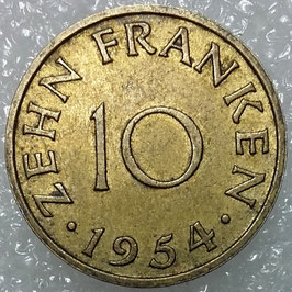 Saarland 10 Franken 1954 KM#1 XF-