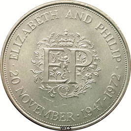 Great Britain 25 Pence 1972 - 25th wedding anniversary of Queen Elizabeth II and Prince Philip  KM#917 UNC