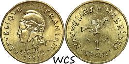 New Hebrides 1 Franc 1975 KM#4.2 UNC-