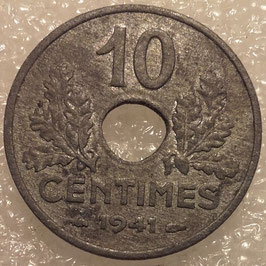 France 10 Centimes 1941-1943 KM#898.2 (thin flan 2,45 g)
