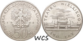 Poland 50 Zlotych 1983 'MW - 150th Anniversary of Great Theatre Y#142 UNC-