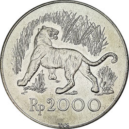 Indonesia 2000 Rupiah 1974 - Javan Tiger KM#39 UNC