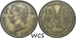French West Africa 10 Francs 1956 KM#6 VF