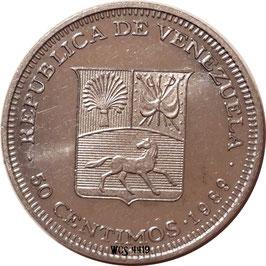 Venezuela 50 Centimos 1988-1990 Y#41a