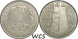 Poland 10 Zlotych 1964 - 600th Anniversary - Jagiello University (Legends incuse) Y#52.2 XF