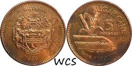 Guyana 5 Dollars 1996-2018 KM#51