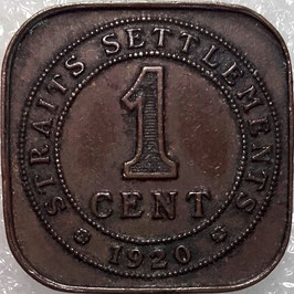 Straits Settlements 1 Cent 1920 KM#32 VF