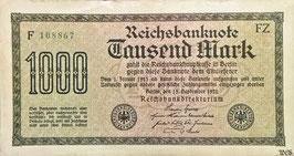 Germany 1000 Mark 15.09.1922 Ro 75m Printer: FZ