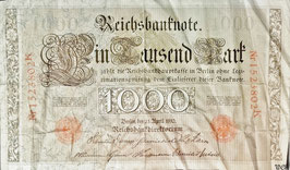 Germany  1000 Mark 21.04.1910 (08.1922) Ro 45c  Underprint/Series R/K