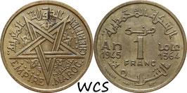 Morocco 1 Franc 1945 (1364) Y#41 VF