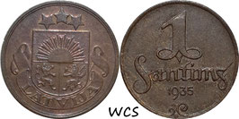 Latvia 1 Santims 1935 KM#1 VF+