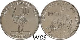 Eritrea 10 Cents 1997 KM#45 UNC
