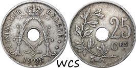 Belgium 25 Centimes 1910-1929 BELGIË KM#69 VF