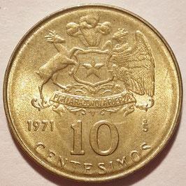 Chile 10 Centesimos 1971 KM#194