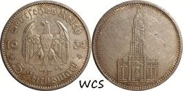 Germany - Third Reich 5 Reichsmark 1934 A KM#83 VF - 1st Anniversary of Nazi Rule - Potsdam Garrison Church (2)