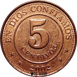 Nicaragua 5 Centavos 2002 KM#97 UNC