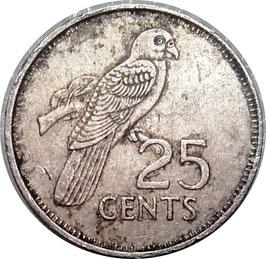 Seychelles 25 Cents 1989 KM#49.2 VF-
