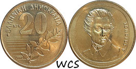 Greece 20 Drachmes 1992 KM#154 UNC