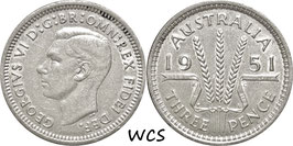 Australia 3 Pence 1951 PL KM#44 XF